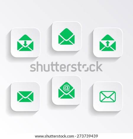 Modern vector mail envelope icons on white buttons - stock vector