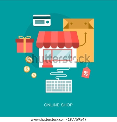 modern vector on line shop concept illustration - stock vector