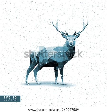 Modern vector polygonal illustration. Low poly deer on the snowy background. - stock vector