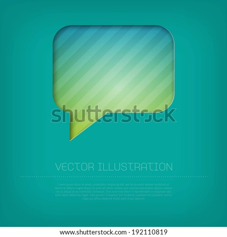 Modern vector rectangular speech bubble icon with bright colorful striped background. Cut out style with inner shadow. - stock vector