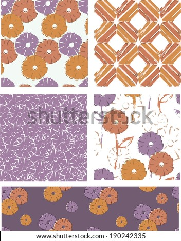 Modern Vector Seamless Floral Patterns. Use as fills or print off onto fabric to create unique items. - stock vector