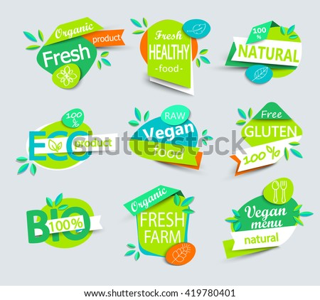 Modern vector set of healthy organic food labels, tags, emblems, logo for meal and drink,cafe, restaurants and  products packaging.Vector illustration. - stock vector