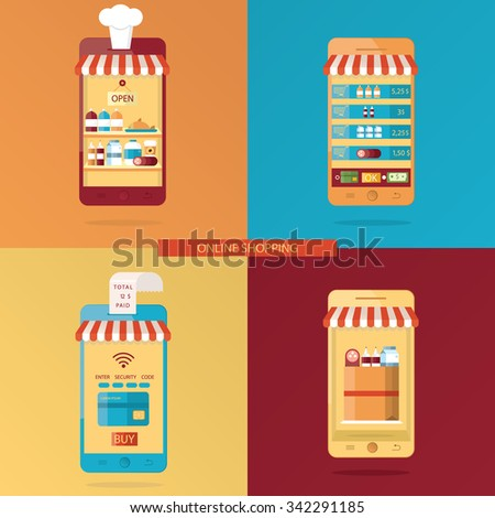 Modern vector set of Online shopping, online food delivery - stock vector