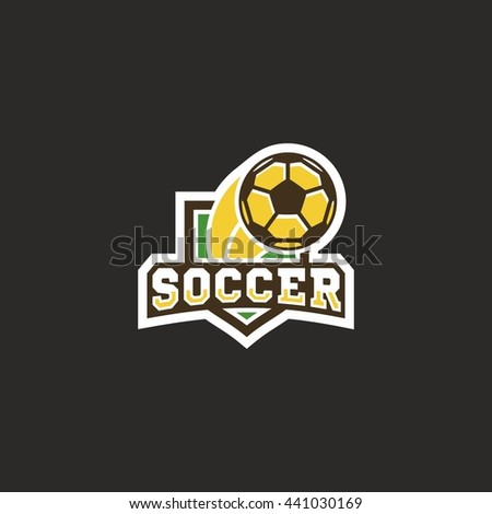 Modern vector soccer football shield logo emblem - stock vector