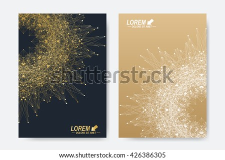 Modern vector template for brochure, Leaflet, flyer, cover, magazine or annual report. A4 size. Business, science, medicine and technology design book layout. Abstract presentation with golden mandala - stock vector
