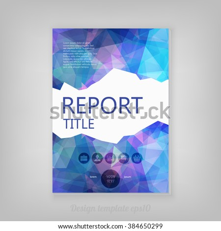 Modern Vector Template for Business Brochure, Report Design with modern geometric triangular shapes on blue background - stock vector