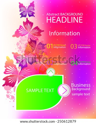 Modern Vector Template for Business Brochure with butterflies. - stock vector