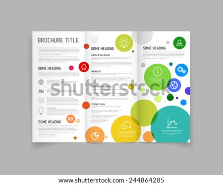 Modern Vector three fold brochure / leaflet / flyer design template with circles - stock vector