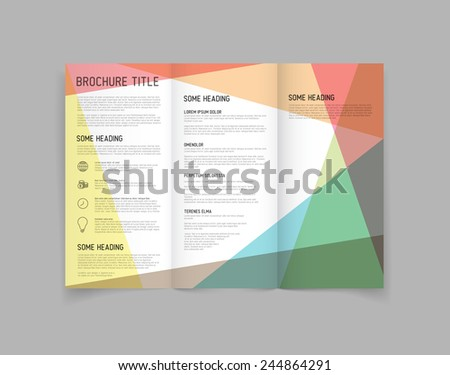Modern Vector three fold brochure / leaflet / flyer design template with color blocks - stock vector
