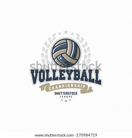 Modern vector volleyball championship logo with olive branch and red ribbon - stock vector