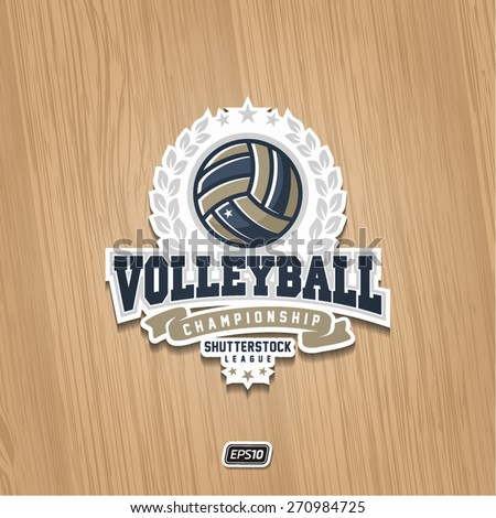 Modern vector volleyball championship logo with olive branch and red ribbon on wooden texture - stock vector