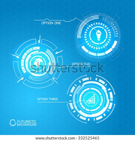 Modern virtual technology background. glowing abstract shapes on a blue background.  - stock vector
