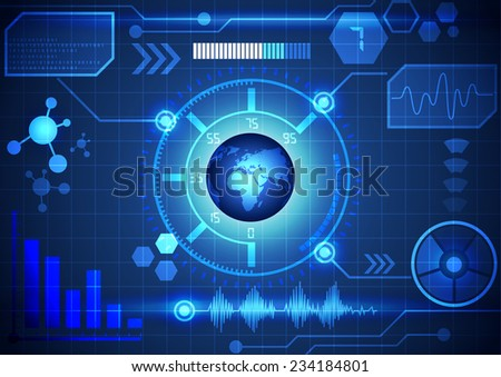 Modern virtual technology background interface, vector - stock vector