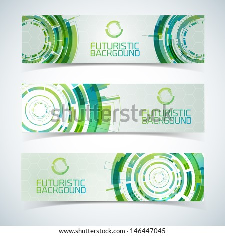 Modern virtual technology banners set. Vector Illustration, eps10, contains transparencies. - stock vector