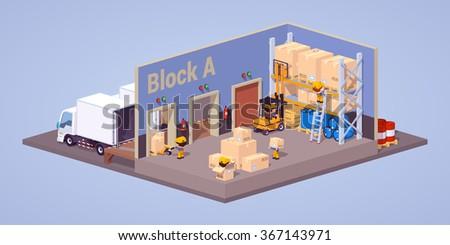 Modern warehouse interior - stock vector