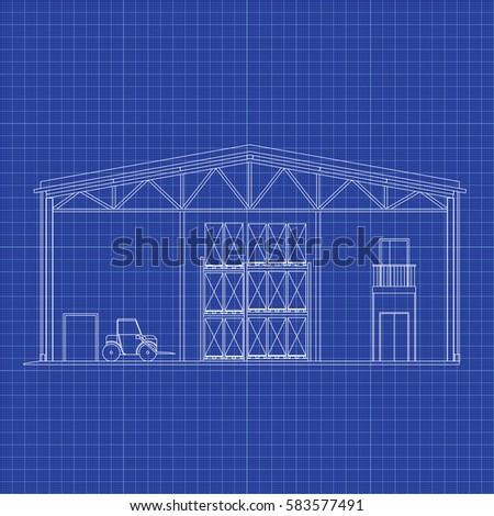 Blueprint floor plan modern apartment on stock vector 398832934 modern warehouse with forklift cross section storage vector blueprint architectural background malvernweather Image collections