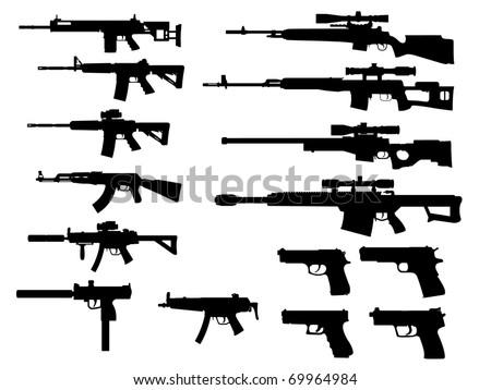 modern weapon collection vector - stock vector