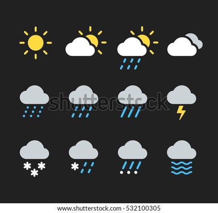 Modern weather icons set. Flat vector symbols on dark background.