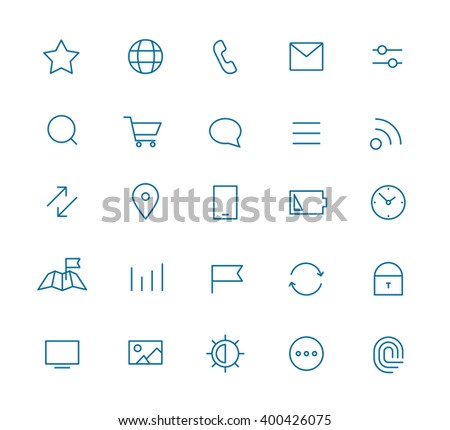Modern web and mobile application pictograms collection. Line art interface icons set - stock vector
