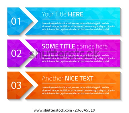 Modern web banners with triangle background and dark shadow. Vector format. - stock vector