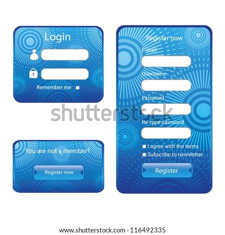Modern web card login form - stock vector