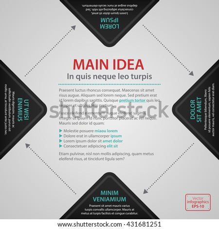 Modern web design template with four black options and text. Strict corporate business style. Useful for annual reports, presentations and media. - stock vector