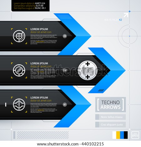 Modern web design template with options/banners. Futuristic techno business style. Useful for annual reports, presentations and advertising. - stock vector
