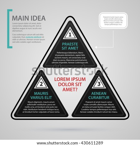 Modern web design template with three black triangle options. Strict corporate business style. Useful for annual reports, presentations and media. - stock vector