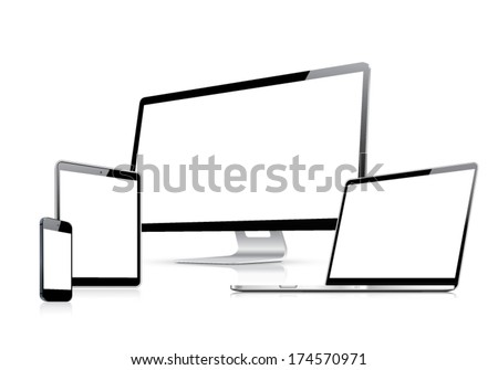 Modern web design vector template with laptop, tablet, smartphone, computer isolated on white - stock vector