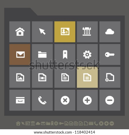 Modern web icons for mobile devices and contemporary interfaces, set 1