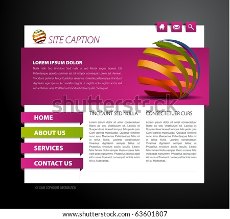 Modern web page template - with 3d navigation items - stock vector