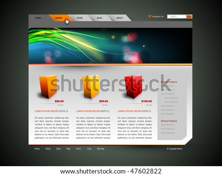 Modern Web Site Design Vector Template With Banner Design and 3D Sample Product Icons - stock vector