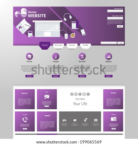 Modern website template - stock vector