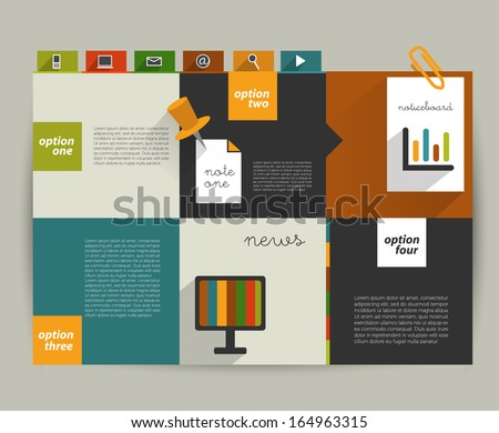 Modern website template. Colorful minimalistic option banner. Vector illustration. Box diagram. Blog, noticeboard background. - stock vector