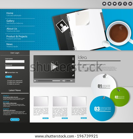 Modern Website Template EPS 10 Vector illustration - stock vector