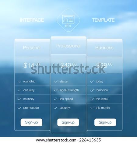 Modern website ui template design. Transparent app user interface price list widget buttons on minimalistic backdrop. Vector editable webdesign elements on blurred background. Landscape background. - stock vector