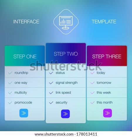 Modern website ui template design. Transparent app user interface wizard buttons on minimalistic backdrop. Vector editable webdesign elements on blurred background with icons. - stock vector