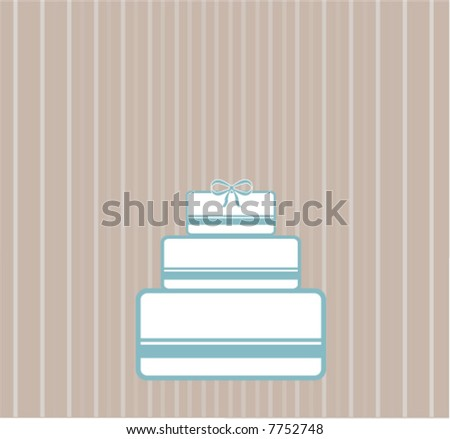 Modern Wedding Cake with Bow - stock vector