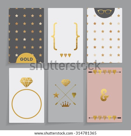 Modern wedding card. Design in six different combinations. It contains golden elements: star, diamond sunglasses, crown, heart, arrow. - stock vector