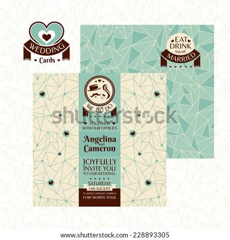 Modern wedding card vector illustration - stock vector