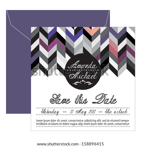 Modern wedding invitation - stock vector