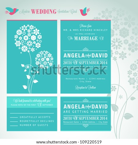 Modern wedding invitation card set - stock vector
