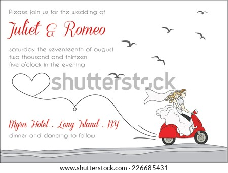 Modern wedding invitation template, scooter love, bride and groom riding a motorcycle