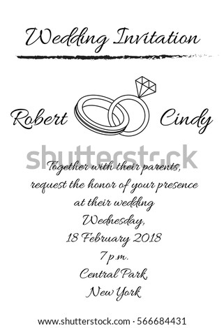Modern wedding invitation template black white stock vector hd modern wedding invitation template with black and white color and ring outline illustration stopboris Gallery
