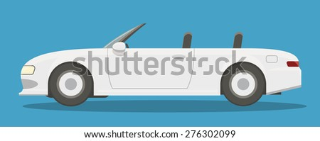 Modern white cabriolet side view cartoon style. EPS10 vector flat illustration of a sport car. - stock vector