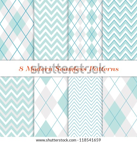 Modern White Christmas Backgrounds. 8 Seamless Chevron and Argyle Patterns in Aqua Blue, Turquoise, White & Silver. Nice background for Scrapbook or Photo Collage. Matching Image ID: 128027708. - stock vector