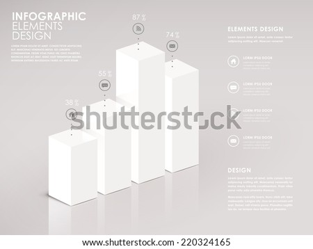 modern white 3d bar chart infographic elements - stock vector