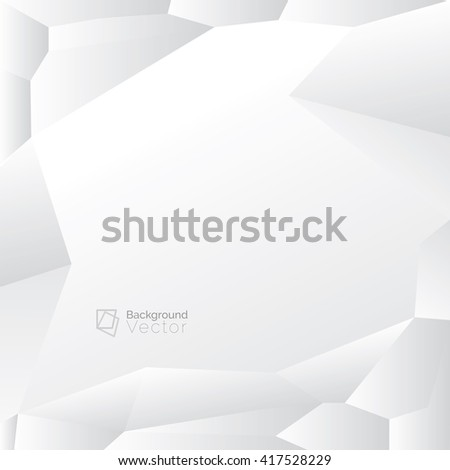 Modern white gray polygon abstract background, border design with copy space - stock vector
