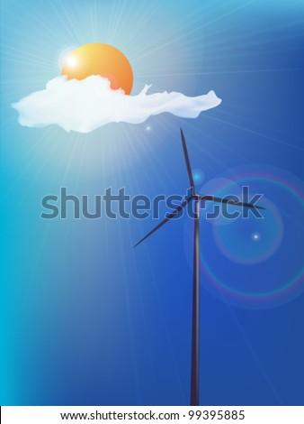 Modern windmill, alternative energy background. Abstract art. - stock vector