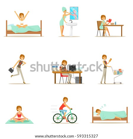 Modern Woman Daily Routine Morning Evening Stock Vector ...